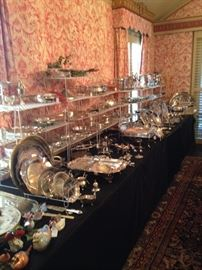 Huge assortment of silver plate & sterling serving pieces