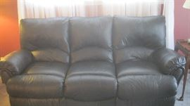 Lane black  double reclining sofa