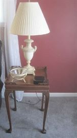 One of two end tables by Superior Furniture and pair of lamps