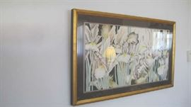 Large gold framed floral print
