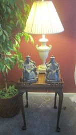 Other Superior Furniture end table with lamp and pair of Asian figures