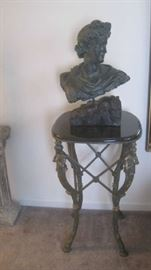 Marble top/ ornate iron table with sculpture bust