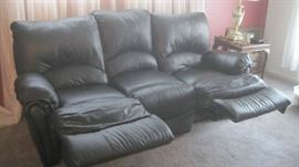 Lane black reclining double sofa