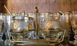 Libbey gold leaf frosted glass sugar and creamer set with caddy