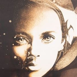 "Paul Chelko Lithograph Print ""Flower Child"": A lithograph print titled Flowerchild after Paul Chelko. This monochromatic portrait print depicts a woman with realistically rendered face but flattened abstracted body that fades into a cosmic background. The work is titled and signed in-plate int eh lower right. It is presented under glass with a dark grey mat in a black and gold tone frame. There is a hanging wire mounted to the verso."