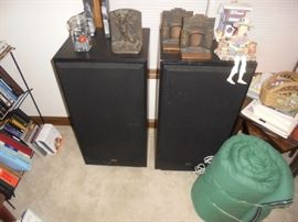 Vintage speakers and heavy metal bookends