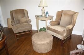 Pair of wing back chairs, ottoman and demilune side table