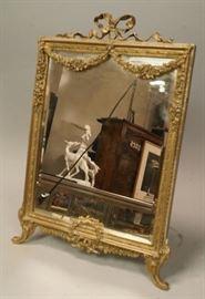 Lot 1 MARQUE PA Ornate Antique Bronze Beveled Mirror. E