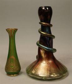Lot 5 2 pc European Art Glass Vases. 1 Loetz style iri
