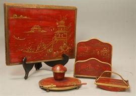 Lot 7 5pc Vintage Japanned Lacquered French Desk Set. R