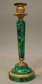 Lot 11 Antique Malachite  Gilt Bronze Candle Stick. Fac