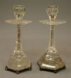 Lot 12 Pr Antique Rock Crystal Candle Sticks. Tapered he