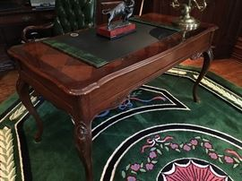 Mahogany Desk  with Queen Anne legs , Lamps and Bronzes
