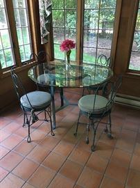 Ice cream Parlor Chairs and Table with Glass Top ! Lovely !