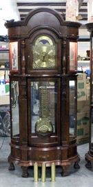 """Ridgeway Clocks Lighted Curio Grandfather Clock, Includes 3 Weights, 2 Keys, and Owner's Manual, 38""""W x 89""""H"""