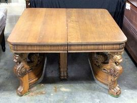"""19th Century Italian Renaissance Carved Table with Griffin Heads and Paw Feet, Includes Hardware, 54""""W x 32""""H"""