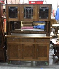 """Mirrored Back Hoosier Buffet Table with Stained Glass Doors, Beveled Glass Mirror, 60""""W x 82""""H x 21""""D"""