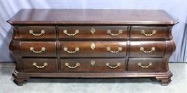 """Century Furniture Bow Front Dresser, Dovetail Constructed Drawers, 74""""W x 32""""H x 19""""D"""
