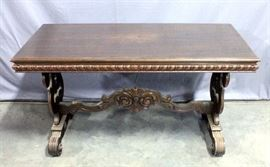 """Carved Library Table with Ornate Base, 54""""W x 30""""H x 24""""D"""