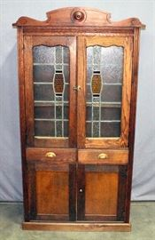 """Cupboard with Stained Glass Doors, 37""""W x 73.5""""H x 16""""D"""