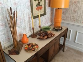 Mid-Century Modern Server by J. B. Van Sciver, Haeger Pottery, Monkey Pod wood fruit, retro turtle cheese server