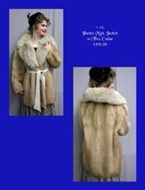 5. Pastel Mink Jacket with Fox Collar - $495.00