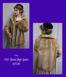 6 1950s Pastel Mink Jacket - 695.00