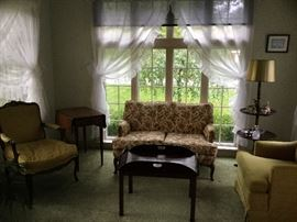 Fine quality quilted floral love seat and Henredon chairs