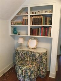 Skirted vanity with bench
