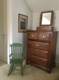 Fine quality maple chest of drawers and American Girl Doll rocker