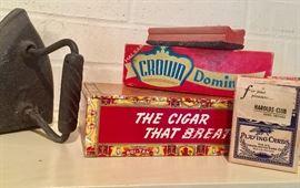 Iron, cigar box, cards