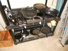 Large selection of cast iron skillets
