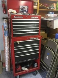 Craftsman tool box, folding chairs,
