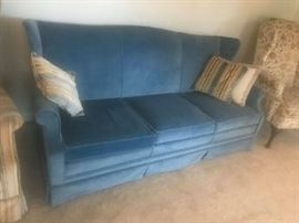 "#5 blue wingback sofa 79"" L $100"