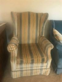 #4 blue/yellow wing back chair $30