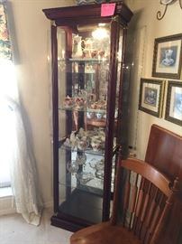 Cherry wood curio with brass accents, very nice!