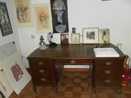 Antique Mahogany desk,  Grand Rapids,  artwork