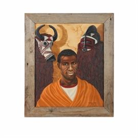 "Rosemary Leary Oil Painting on Canvas Board ""Man from Upper Volta, Africa"": An oil painting on canvas board titled Man from Upper Volta, Africa by Rosemary Leary, created in 1969. This heraldic composition features a portrait of an African man flanked by two elaborate West African masks. The painting is signed and dated to the lower right; it is presented in a distressed wood frame. Handwriting to the verso provides the title and fully reads ""Man from Upper Volta, Africa with masks of Bobo Uli and Bobo Fing by Rosemary L. Leary, Rochester, N.Y."" The artist's address label is also adhered to the verso."