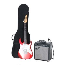 Ibanez Gio Electric Guitar, Case and Squier Amplifier: A solid-body Ibanez Geo electric guitar, model GRX40 and serial number CZ802948, with a candy apple red finish and a white pickguard; it features one humbucker and two single-coil pickups with a five-way pickup selector, volume control, and tone control. Included is a Squier amplifier, model BP-15 and serial number BP1519418, and a black Fender gigbag style case.