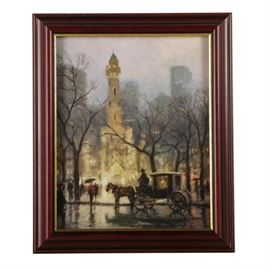 "Thomas Kinkade Limited Edition Offset Lithograph ""The Watertower, Chicago"": A limited edition offset lithograph on paper titled The Watertower, Chicago by Thomas Kinkade (1958 – 2012). This print of an original painting depicts figures and a horse drawn carriage standing outside the old Water Tower building in Chicago. Signed in plate and numbered 556 in an edition of 1850 to the lower left, the print is presented under glass in a stained wood frame with a gold tone accent. A wire for hanging purposes and a certificate of authenticity are present to the verso."