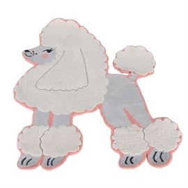 "The Land of Nod Hooked Wool Poodle Themed Accent Rug: A hooked wool accent rug in a poodle theme by The Land of Nod. This adorable rug features the shape and image of a French Poodle in a rose colored border. The rug is finished with yarn wrapped edges and a cotton backing, labeled ""The Land of Nod, Made in India, 100% Wool Pile, 100% Cotton Backing""."