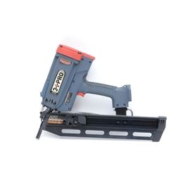 """3 PRO 21 Degree Gas Powered Framing Nailer: A 3 PRO 21 degree gas powered framing nailer, model GFN2190. The 3 Pro nailer operates on fuel cell and cordless battery, portable and convenient for operation, a powerful drive of 2""""-3-1/2"""" nails for every framing job, light-weight and well balanced, adjustable depth control, anti-dry fire mechanism, improved air filter effectively prevents dust, collapsible reversible rafter hook, low battery and high temperature indicator light, full sequential actuation, patented structure for easy cleaning, repair and maintenance and a patented vented check valve. A fuel cell life 1200 nails, battery life 5000 nails per charge at 2-3 nails per second. Accommodates 2""""-3 1/2"""" fasteners. in a short magazine. Case and goggles included."""