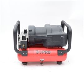 3 PRO 3.4 Gallon High-Pressure Compressor: A 3 PRO 3.4 gallon oil free high pressure compressor, model ACW2512BD4P. A 2.5 HP direct driven, air flow at 3.6scfm@90psi and 2.7scfm@300psi, cut-out pressure is 400psi, cut-in pressure is 330psi, 4 air-outlets (2 for high-pressure and 2 for regular pressure), easy drain valve (just turn the lever and the ball valve opens and drains the air and water easily, four-pole induction motor for low noise, 400psi high-pressure tanks compared to conventional 125psi pressure, lifespan of compressor is 1000 continuous running hours at 75% duty cycle.