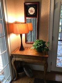 Hunt mirror, designer lamp, lovely table