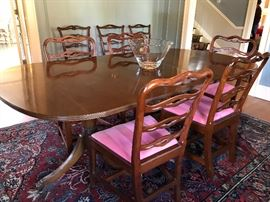 Double pedestal dining room table with 3 leaves