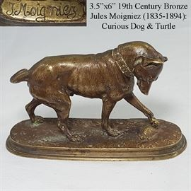 Art Bronze Jules  Moigniez (1835-1894) Dog And Turtle Detailed Desk Statue