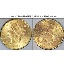 Gold $20 1904-S Liberty Head US Double Eagle Coin
