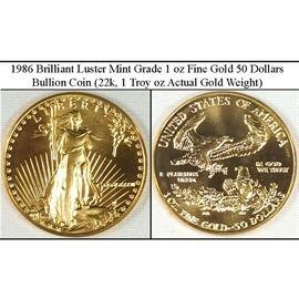 1986 1 oz fine Gold American Eagle 50 Dollar Coin - Mint Grade, Brilliant Luster