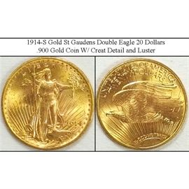 1914-S Gold St Gaudens Double Eagle 20 Dollar Coin