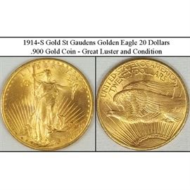 1914-S Gold St Gaudens American Eagle $20 Coin